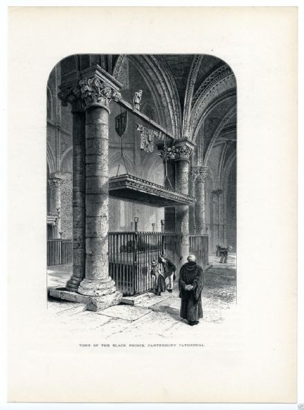 1880 CANTERBURY CATHEDRAL Tomb Edward The Black Prince PRINT Trinity Chapel